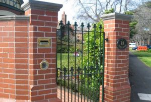 Brick Work with Iron Gates
