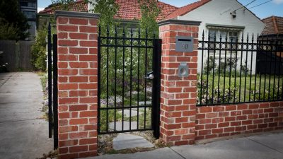 Recycled Red Brick Fence With Gate